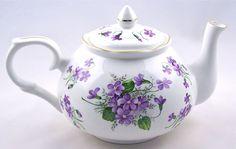 "Crown Victorian China - Fine english bone china teapot ""Wild Violet Chintz."""