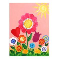 Baby nursery decor - Nursery art - Girls Room Decor - PINK GARDEN 12x16, Wall Art for Girls Room, Acrylic