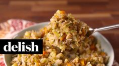 """Cauliflower is a really awesome vegetable that can be used to replace carbier fare in recipes. If you can't or don't eat bread, but still want a flavorful, homey side for your turkey, consider making this cauliflower """"stuffing"""" from delish. (Technically I think this would be a """"dressing,"""" but I'll let it slide.)"""