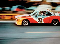 """A BMW CSL """"Art car"""" painted by Alexander Calder. The car was driven by Hervé Poulain, Sam Posey and Jean Guichet at Le Mans in 1975 but failed to finish. Alexander Calder, Le Mans, Bmw E9, Course Automobile, Assurance Auto, 2017 Bmw, Porsche 918, Car Painting, Rally Car"""