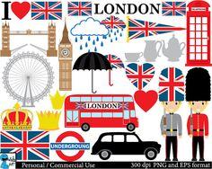 London UK - Set Clipart - Digital Clip Art Graphics, Personal, Commercial Use - 45 PNG images (00151)