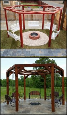 Enjoy your outdoor area by building a hexagonal swing with sunken fire pit. Learn more about this project by heading over to our site now!