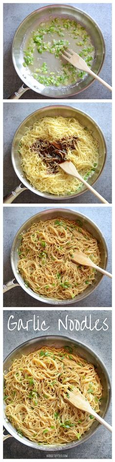 & Easy Garlic Noodles Garlic Noodles - an at-home substitute for lo mein?Garlic Noodles - an at-home substitute for lo mein? I Love Food, Good Food, Yummy Food, Tasty, Vegetarian Recipes, Cooking Recipes, Healthy Recipes, Free Recipes, Healthy Junk