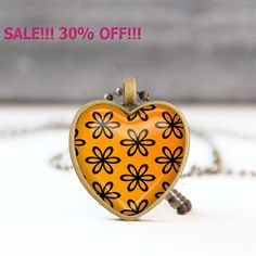 SALE 30% Orange heart necklace Floral heart shaped Photo necklace Bridesmaid gift Love gift for her 5011-8 by StudioDbronze