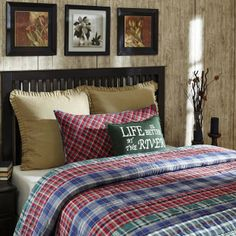 The Douglas Quilted Bedding Collection from the Ashton & Willow line  by VHC Brands - The Douglas Collection is new for Fall 2015. With a  cabin Rustic feeling, it has strips of red, green, blue, and navy  plaids. Each quilt is 100% cotton  shell and fill, with hand quilted  stitch in the ditch and echo quilting. Choose size below