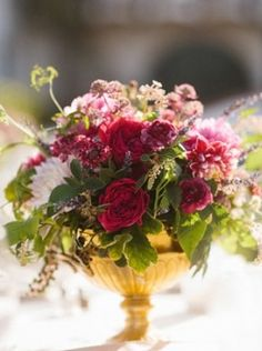 Bouquet Inspiration: Gorgeous #magenta, #burgundy and pink #flowers | Adamson House Wedding by Harmony Loves on Grey Likes Weddings — Loverly Weddings