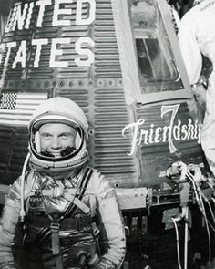 """""""God speed, John Glenn"""" With these words, US astronaut, Lt.Col. John Glenn (USMC), lifted off from Cape Canaveral, Florida on February 20, 1962 to become America's 1st man to orbit the earth."""