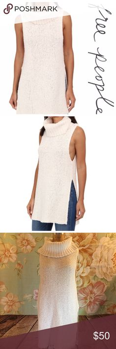 F R E E P E O P L E 🌸 Creme mock neck tunic I am selling this beautiful Free People Creme mock neck tunic. Size medium, NWOT, No stains, holes, or flaws! Free People Tops Tunics