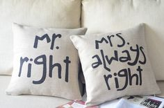 His & Her pillows, decorative pillows
