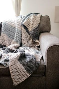 Crochet Afghans Design Let's Stay Home Blanket Crochet Pattern // PDF Pattern Throw Blanket for Two Neutral Stripe Texture Chunky Couch Afghan Beginner Friendly - Oversized Chunky Throw Crochet Afghans, Afghan Crochet Patterns, Baby Blanket Crochet, Crochet Blankets, Crochet Mittens, Mittens Pattern, Knitted Throws, Mobiles En Crochet, Crochet Mobile