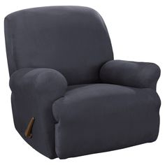 Stretch Suede Recliner Slipcover Blue - Sure Fit