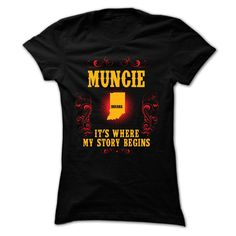 [Top tshirt name meaning] Muncie Its where story begin Coupon Today Hoodies, Funny Tee Shirts