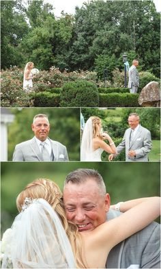 Father daughter first look - love this! Click to view more from this wedding! Dara's Garden wedding, Knoxville wedding venue, photos by Tennessee photographer JoPhoto.