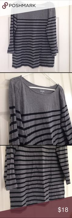 """Black and Grey Stripes 3/4 Sleeves Soft and cozy. Stretchy. Black stripes and grey tee. 3/4 sleeves. 100% cotton. No stains or holes. Measurement laying flat: bust: 20"""" length: 27"""" Old Navy Tops"""