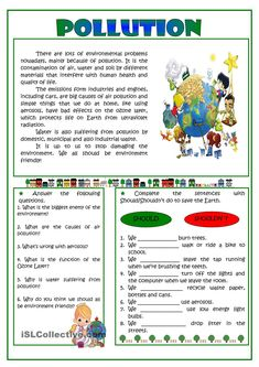 Pollution -reading - English ESL Worksheets for distance learning and physical classrooms Reading Comprehension Activities, Reading Worksheets, Printable Worksheets, Plurals Worksheets, English Grammar Worksheets, English Vocabulary, English Lessons, Learn English, English Reading