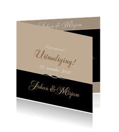 Stijlvolle, sierlijke jubileumkaarten bestellen 50 jaar getrouwd. Een mooie klassieke kaart.