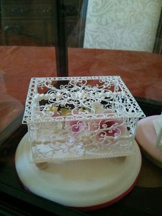 Delicate royal icing box, gumpaste flowers inside. Beautiful cake topper.