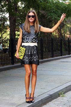 Olivia Palermo | Navy. Print. Dress.
