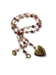 Gold Locket Necklace Vintage Gold Picture Locket by FribblePistol