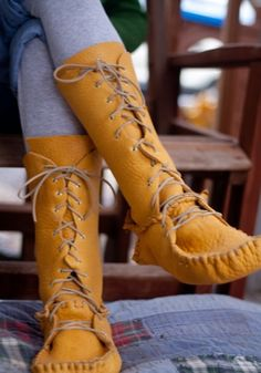 Kelley Gilbert's amazing handmade moccasin boots! #shoes #sewing #leather