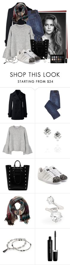 """Chilly Fall Day"" by cjfdesign ❤ liked on Polyvore featuring Lands' End, MANGO, Chloe + Isabel, Mulberry, adidas Originals, TravelSmith, Marc Jacobs, Maybelline, Fall and chloeandisabel"
