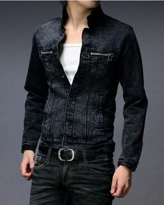 2f053a5606c2 Mens Denim Jacket Stand Collar Long Sleeve Single Breasted Casual Solid  Denim Man Jackets Discount Online