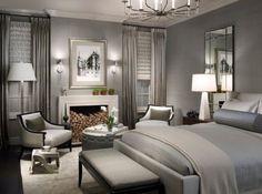 Luxuriöse Schlafzimmer In Schönen Grau