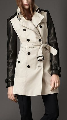 Burberry Trench Coat with Leather Sleeves. Killer!