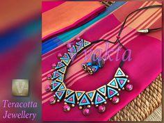 Funky Jewelry, Metal Jewelry, Jewelry Crafts, Handmade Jewelry, Teracotta Jewellery, Terracotta Jewellery Designs, Wooden Necklace, Polymer Clay Beads, Ceramic Jewelry