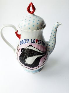 Hand Painted Large Teapot, by Little Birdy Crafts on Folksy
