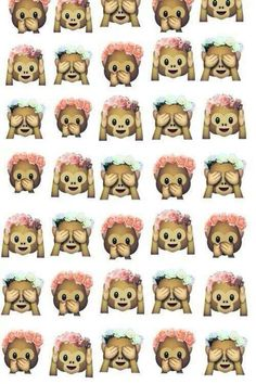 The monkey emojis with flower crowns