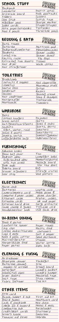 College packing index cards - liking this. shows what is needed in dorm and in class. College packing index cards - liking this. shows what is needed in dorm and in class. Dorm Room Checklist, College Checklist, College Planning, College Hacks, Dorm Hacks, College Supplies, Packing Checklist, College Classes, Packing Tips