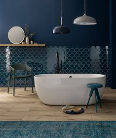 topps tile of the year syren in midnight blue styled by Elle Decoration - Mad About The House Bad Inspiration, Bathroom Inspiration, Bathroom Colors, Small Bathroom, Colourful Bathroom Tiles, Blue Bathroom Tiles, Mermaid Tile, Topps Tiles, Yellow Bathrooms