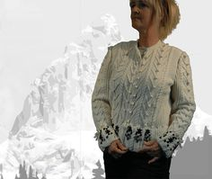 """Ladies cardigan with Austrian Inspiration """"Lake Louise"""" cream with cables and bobbles - the perfect companion for denim - READY TO SHIP Cardigans For Women, Knits, Hand Knitting, Leather Skirt, Ruffle Blouse, Feminine, Ship, Pure Products"""