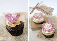 Lavendar Embossed Heart Cupcake