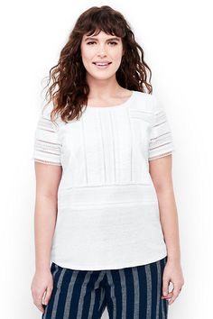 Woven Trim Top | This linen top with a touch of lace is laid back and lovely. It pairs perfectly with a blazer for work or your favorite casual jacket for the weekends. Spring is made for you at Lands' End