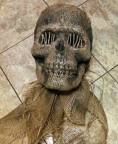 DIY creepy Halloween skull - cheap plastic or foam skull + burlap glued over it + staples and twine across mouth + twine over eye sockets + paint to make it look grungy - genius! This link is to page in this post - go to page to see some basic st Halloween Prop, Halloween 2014, Outdoor Halloween, Halloween Skull, Diy Halloween Decorations, Holidays Halloween, Halloween Crafts, Burlap Halloween, Halloween Forum
