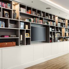 Tall space for candlabra Living Room Bookcase, Living Room Wall Units, Shelving Design, Bookshelf Design, Home Library Design, House Design, Bibliotheque Design, Muebles Living, Entertainment Room