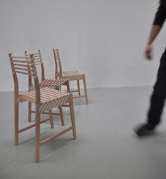 These three chairs stack so well that when combined it looks like one chair.  Neat!