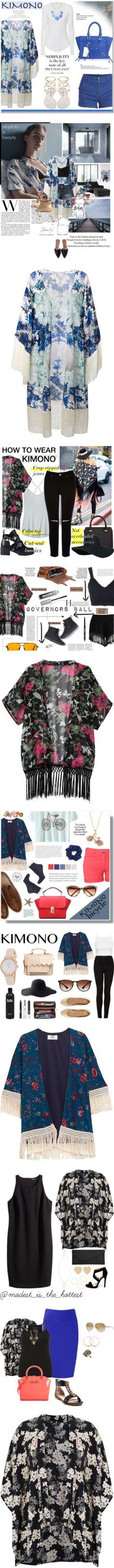 15 Ways to Wear a Floral Kimono by polyvore-editorial on Polyvore featuring polyvore, waystowear, floralkimono, fashion, style, Athena Procopiou, Pieces, James Perse, kimono, contestentry, avber, Dolce&Gabbana, rag & bone/JEAN, Jimmy Choo, Zara, clothing, intimates, robes, blue, blue kimono, blue silk robe, silk robe, blue robe, kimono robe, Athleta, Oasis, Refresh, Victoria Beckham, Topshop, Chicwish, American Eagle Outfitters, Bare Escentuals, Chanel, kimonos, outerwear, tops, cardigans…