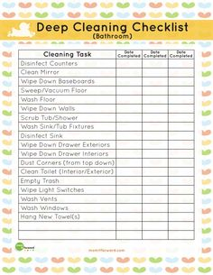 Printable: Bathroom Deep Cleaning List