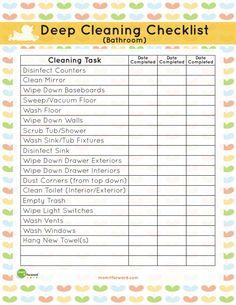 Printable: Bathroom Deep Cleaning List