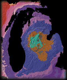 The Michigan Basin. The Union of Geology and Topography. USGS. A giant incomplete bulls-eye is centered on the state of Michigan. Extending into Illinois, Ohio, Indiana, Wisconsin, and Ontario, this annular pattern outlines the Michigan Basin, a bowl-shaped structure of uncertain origin that contains over 4 km of inward-dipping Paleozoic strata and a veneer of Jurassic sedimentary rocks. This mysterious basin is located in the tectonically less active interior of the continent.