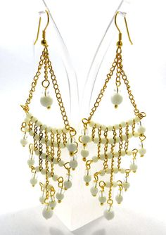 Fashion Silver Earring Jewelry, Beautiful White Agate Dangle Silver Earring #Handmade #DropDangle