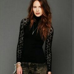 Free People rib and lace turtleneck Beautiful lace turtleneck. Excellent condition. Free People Tops Tees - Long Sleeve