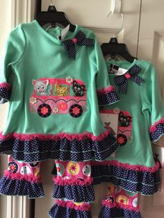 RARE Editions Girls 18 Months Spring Pants Outfit Ruffle Legs for Twin Girls Lot | eBay