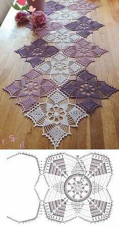 Crochet Table Runner Pattern, Crochet Mandala Pattern, Crochet Lace Edging, Granny Square Crochet Pattern, Crochet Squares, Thread Crochet, Crochet Doilies, Crochet Tablecloth, Crochet Patterns