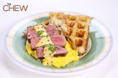 Clinton Kelly's Steak and Eggs with Hash Brown Waffles #thechew