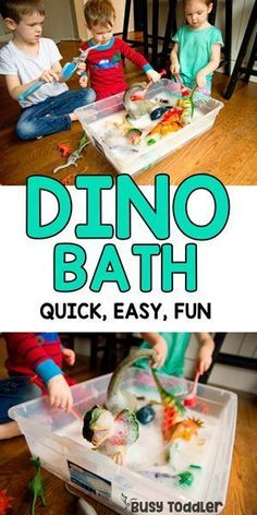 Dinosaur Bath Water Sensory Activity - Busy Toddler - - Have your kids done a dinosaur bath yet? It's a quick and easy activity for toddlers and preschooler. A great indoor activity to try! Toddler Fun, Toddler Preschool, Preschool Crafts, Toddler Sensory Bins, Toddler Themes, Sensory Play, Kids Crafts, Dinosaur Theme Preschool, Dinosaur Dinosaur