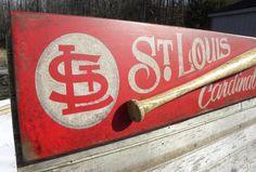 St. Louis Cardinals baseball Sign, wooden, original, hand lettered, art, wall hanging, faux-vintage
